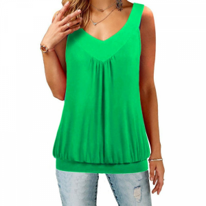 V Neck Sleeveless Ruffled Summer Blouse Top - Green