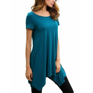 Irregular Casual Style Short Sleeves Solid Color Blouse Top - Peacock Blue