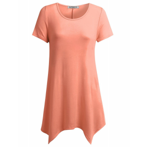Irregular Casual Style Short Sleeves Solid Color Blouse Top - Pink