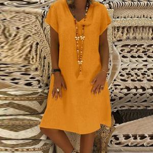 Summer Wear Solid Color Short Sleeves Mini Dress - Orange