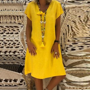 Summer Wear Solid Color Short Sleeves Mini Dress - Yellow