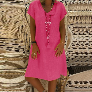 Summer Wear Solid Color Short Sleeves Mini Dress - Rose Red