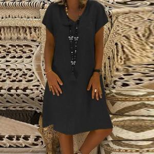Summer Wear Solid Color Short Sleeves Mini Dress - Black