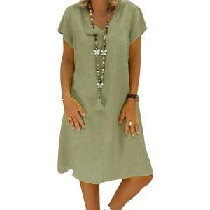 Summer Wear Solid Color Short Sleeves Mini Dress - Green