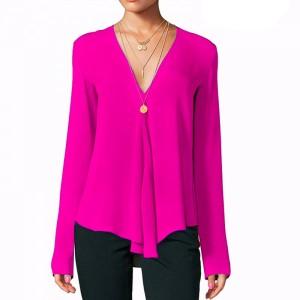 Deep V Neck Full Sleeves Solid Color Summer Blouse Top - Rose Red