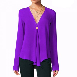 Deep V Neck Full Sleeves Solid Color Summer Blouse Top - Purple