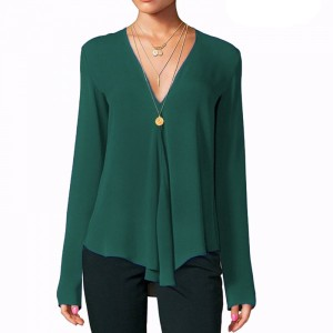Deep V Neck Full Sleeves Solid Color Summer Blouse Top - Green