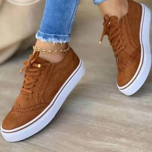 Solid Color Lace Closure Flat Sole Sneakers - Brown