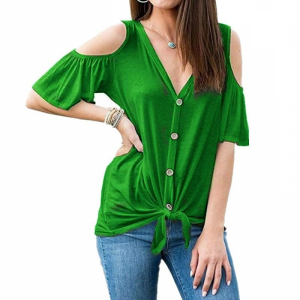 Cold Shoulder Button Closure Knotted Blouse Top - Green
