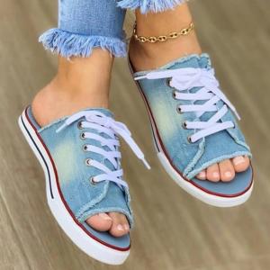 Lace Closure Open Toe Mule Style Slippers - Light Blue