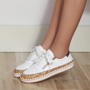 Solid Color Flat Sole Lace Closure Sneakers - White
