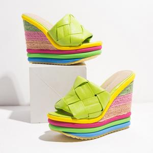 Braid Pattern Heel Colorful Platform Wedge Heels - Green