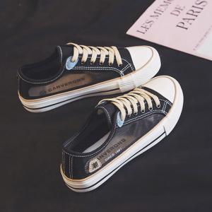 Flat Sole Rubber Comfort Walk Women Fashion Sneakers - Black