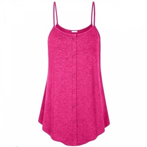 Spaghetti Strap Flared Summer Wear Blouse Top - Rose Red
