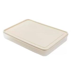 Fancy Egg Storage Tray Box With Lid - Beige