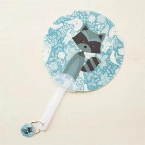 Cartoon Printed Round Hand Held Plastic Fan - Light Blue