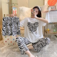 Zebra Prints Pajama Style Three Piece Nightwear Suit - White Black