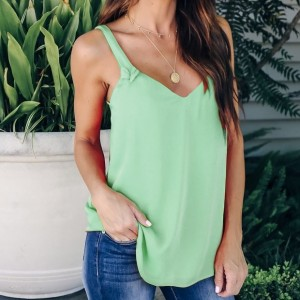 Solid Color Summer Fashion Blouse Top - Green