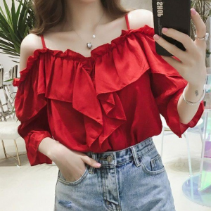 Spaghetti Strapped Ruffled Summer Wear Blouse Top - Red