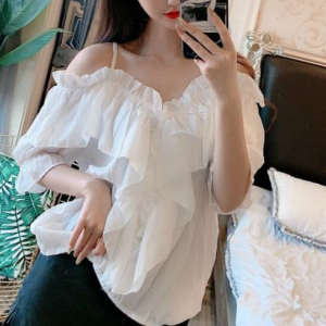 Thin Fabric See Through Strap Shoulder Top - White