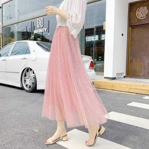 Glitter Decorative Pleated Party Wear Skirt - Pink