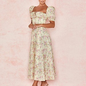 Square Neck Puff Shoulder Floral Printed Midi Dress