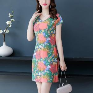 V Neck Floral Printed Formal Mini Dress
