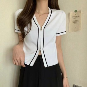 Zipper Closure Short Sleeved Solid Color Top - White