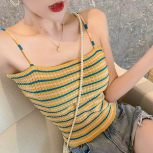 Stripes Printed Spaghetti Strap Body Fitted Summer Top - Yellow