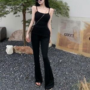 Body Fitted Solid Color Two Piece Suit - Black