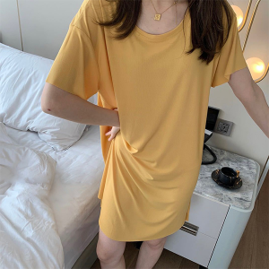 Round Neck Short Sleeves Solid Color Mini Dress - Yellow