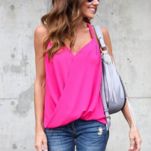 Solid Color Wrapped Blouse Top - Hot Pink