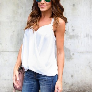 Solid Color Wrapped Blouse Top - White