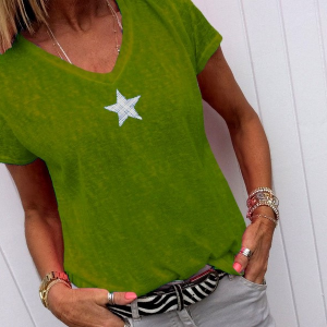 Mesh Print V Neck Solid Color Summer Wear T-Shirt - Army Green