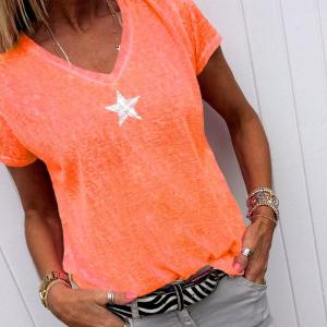 Mesh Print V Neck Solid Color Summer Wear T-Shirt - Orange