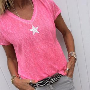 Mesh Print V neck Solid Color Summer Wear T-Shirt - Pink