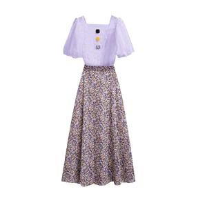 Square Neck Floral Printed Fancy Wear Sober Dress