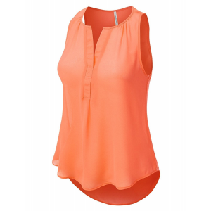 Solid Color Sleeveless Summer Wear Blouse Top - Orange