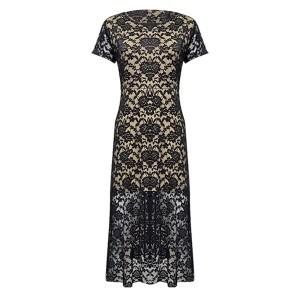 Thin Fabric See Through Round Neck Maxi Dress