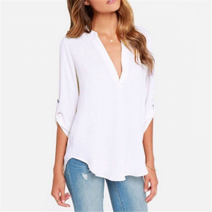 Solid Color Stand Neck Fold Sleeve Summer Blouse Top - White