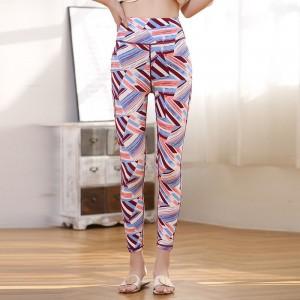 Geometric Print Narrow Bottom Fancy Wear Pants - Purple