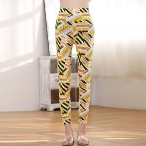 Geometric Print Narrow Bottom Fancy Wear Pants - Yellow