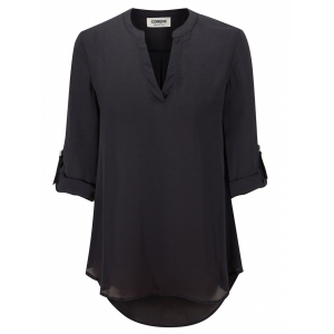 Solid Color Stand Neck Fold Sleeve Summer Blouse Top - Black
