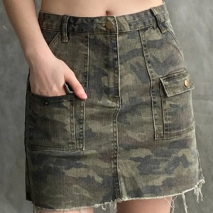 Button Closure Ripped Style Camouflage Mini Skirt - Green