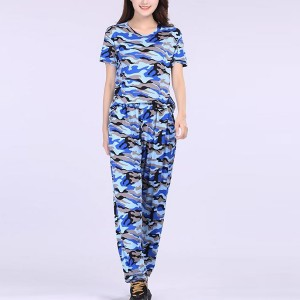 Camouflage Round Neck Two Pieces Printed Suit - Blue