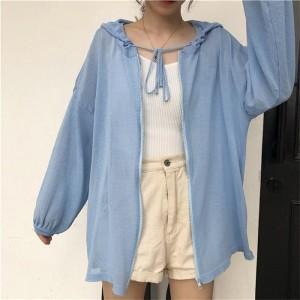 Solid Color Loose Zipper Closure Summer Jacket - Blue