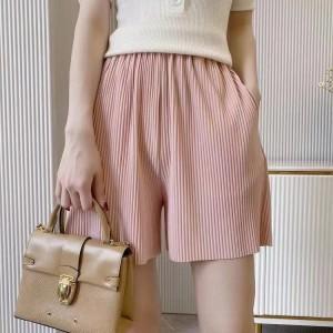Ribbed Style Loose Elastic Waist Shorts - Pink