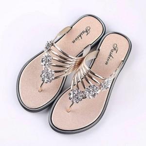 Decor Crystal Flat Wear Slip Over Sandal Slippers - Golden