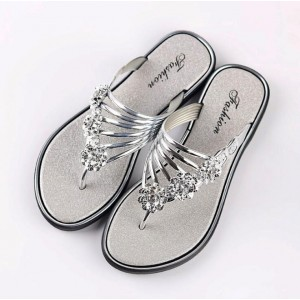 Decor Crystal Flat Wear Slip Over Sandal Slippers - Silver