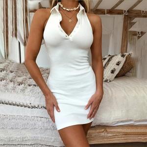 Button Closure Shirt Collar Halter Neck Dress - White